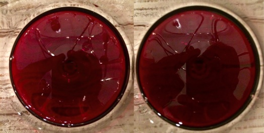 Side by side:  Malbec left, De Sangre right.